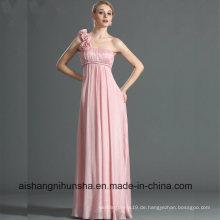 One Shoulder Straight Ausschnitt handgemachte Blumen Brautjungfer Kleid