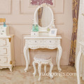 Antique cosmetics desk home decoration white makeup table princess mirrored dresser