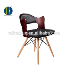Hot selling black pu dinning room furniture with wooden legs