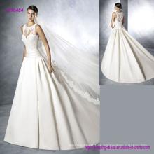 Noble Sleeveless und Falten Rock Satin Brautkleid mit transparenten Spitze Mieder und zurück