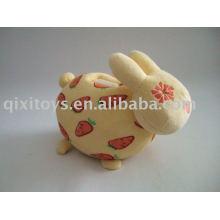 caja de ahorro de dinero de conejo de peluche relleno, banco de moneda de conejo animal