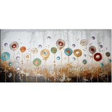 Pinturas al óleo abstractas hechas a mano de la flor en lona