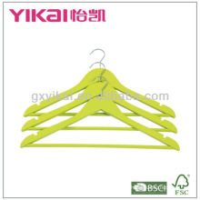 Yellow green wooden shirt hanger with round bar and U notches