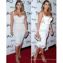 White Sheath Knee Length Sweetheart Neckline Custom Made Red Carpet Celebration Dresses KD002 kim kardashian celebrity dresses