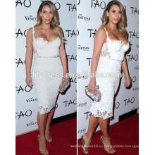 Белое платье длиной до колен милая декольте на заказ торжества Красный ковер платья KD002 Ким Кардашян знаменитости платья