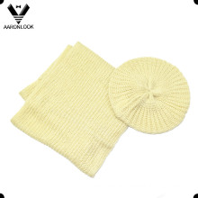 Solid Color Acrylic Cheap Winter Beret Neck Scarf Set