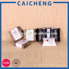 Estampillage brillant lamination impression poignée papier oreiller cosmétique boîte