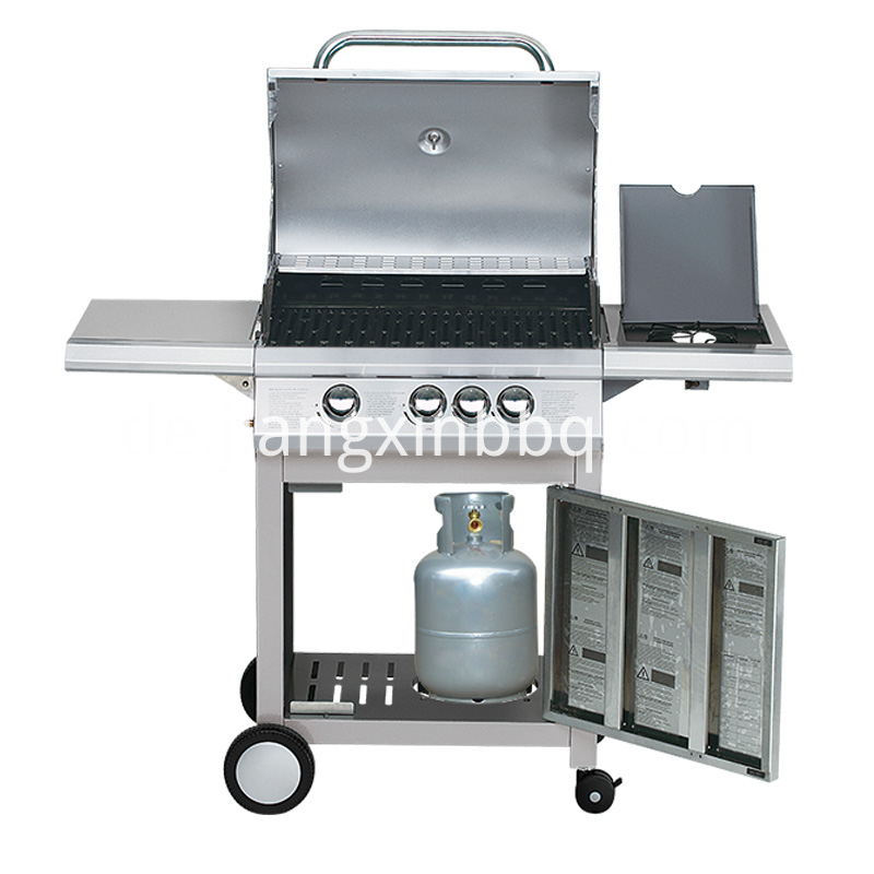 3 1 Burners Stainless Steel Bbq Grill Inside View