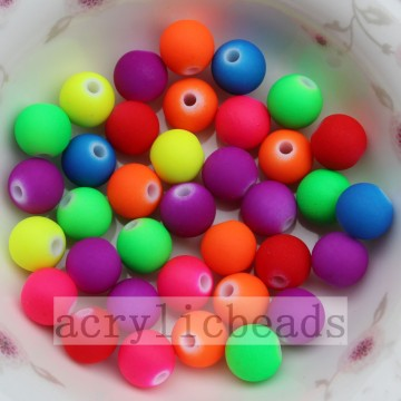 Wholesale Rubber Neon Acrylic Round Beads in Jewelry making