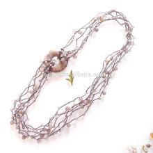 Hand gehäkelte Multi Layered Achat Perlen Halskette