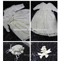 New Designs Infant Baby Baptism Dresses Patterns With Hats and Sleeves Baby Girl Birthday Dresses