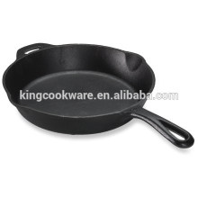 Pre seasoned cast iron skillet fry pan with 2 handle eco friendly