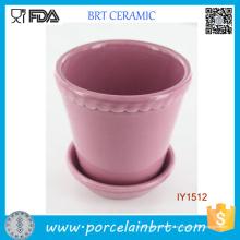 Необычные прекрасный розовый с гофрированным керамический завод горшок