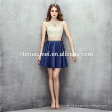 Mini vestido de diseño sin mangas 2 piezas de conjunto pesado vestido de dama de honor de abalorios con diseño de cremallera
