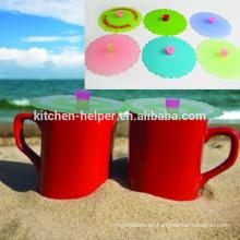 Respetuosa del medio ambiente FDA al por mayor tapa de la taza de silicona reutilizable flexible de grado alimenticio, taza de té del café taza de tapa de la tapa de silicona