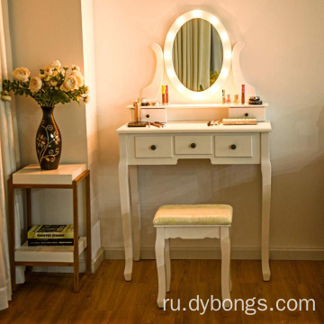 White 5 Drawers 12 LED Lights Bedroom wooden vanity dressing table with Benches
