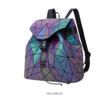 SHBC Geometric PU Drawstring Backpack Fashion Lady Color Changing Luminous Backpack Bag For Girl Women