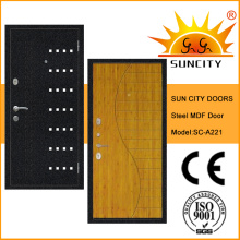 Puerta blindada de acero interior de calidad superior con chapa (SC-A221)