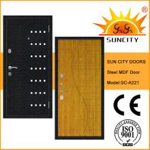 Porte blindée en acier MDF avec placage (SC-A221) de qualité supérieure