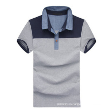Camisas de polo grises de algodón de cuello rígido de alta calidad