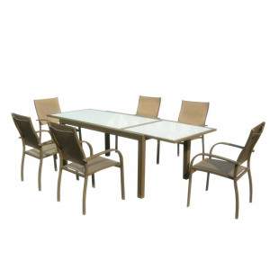 Aluminum Extendable dining table with tempered glass