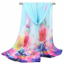Schöner Druck moslemischer Farbenart-Frauendruck Blumen Chiffon- Polyester-Hijabschal