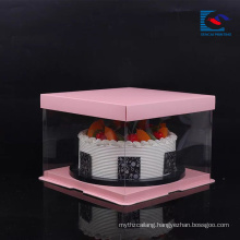 Free Sample Food Grade Art Paper Wedding /birthday Cake packaging box With PVC Window