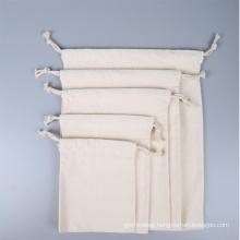 wholesale custom printed logo drawstring gift bags white 100% cotton drawstring packaging bag