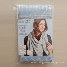 Polyester Voile Sky-Blue Geometry Big Square Scarf About 120 * 120cm