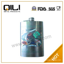 FDA 9oz russian antique hip flask with single water-transfer