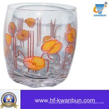 Water Cup Glassware Clear Glass Cup with Decal Flower