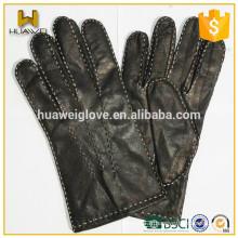 Gants en cuir de haute qualité pour hommes à couture à la main avec points