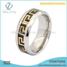 Trendy anel de aço de titânio para homens, jóia de prata de titânio personalizado