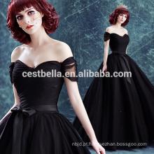 Off ombro vestido de noiva preto vestido de noiva de casamento preto 2017