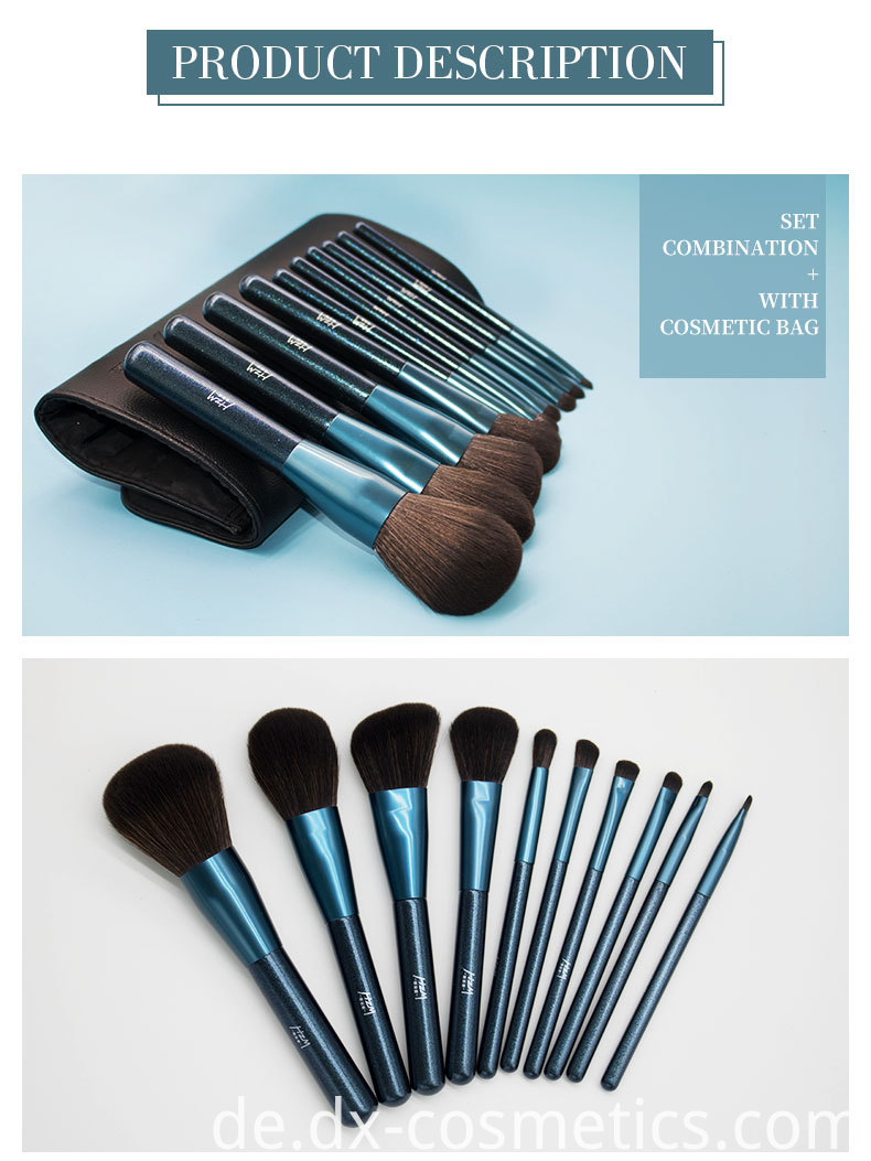 10 Pcs Blue Glitter Diamond Makeup Brushes Set