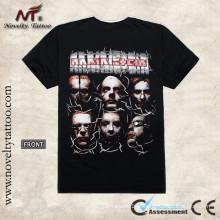 T-shirt preto do tatuagem da cabeça dos homens R100465