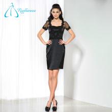 Satin Tulle Black Short Mère sexy de la mariée Robes