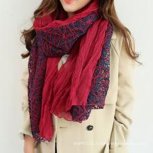 Mulheres moda lenço de algodão primavera de seda do laço (yky1139)