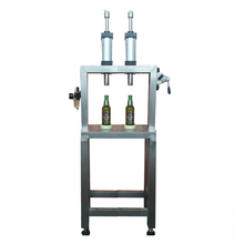 small  Two head manual glass bottle beer filling capping machine