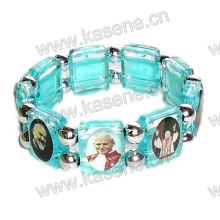 Blue Plastic Religious Bracelet, Catholic Saint Bracelet, Rosary Bangle