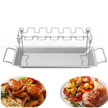 Steel grill chicken leg rack with drip pan