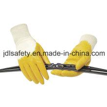Guante de nitrilo / nitrilo cruce /Interlock Liner con nitrilo amarillo (NY1711)