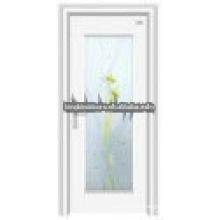 Latest design steel wooden glass door JKD-2012(E)