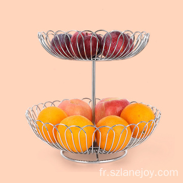 High quality stainless steel double fruit basket manufacture basket fruit stainless steel gold