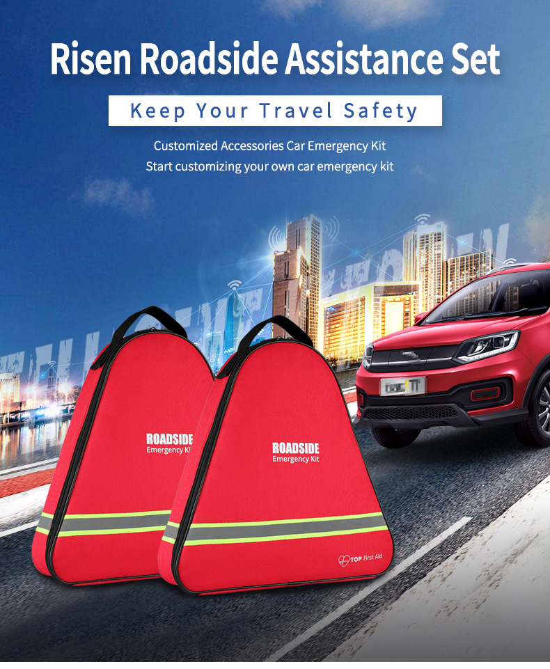 Roadside Assistance Emergency Car Kit First Aid Kit Jumper Cables Tow Strap Led Flash Light Rain Coat Tire Pressure Gauge Safety Vest And More Ideal Winter Accessory For Your Car Truck Or Suv