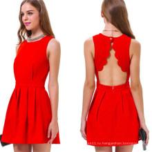 Горячая Распродажа Мода Спинки Рукавов Сексуальное Красное Платье (50148)