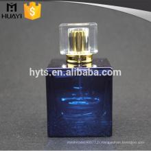 Bouteille de parfum de verre carré de peinture bleue de 100ml avec la pompe et le chapeau