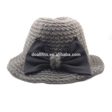 2015 new style knitted bucket hat with cute bow