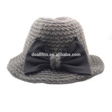 2015 estilo novo tricotado chapéu balde com arco bonito