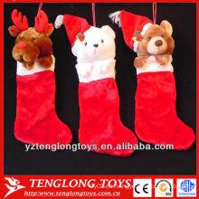 Nuevos calcetines de Navidad de felpa con forma de animal de diseño para 2013